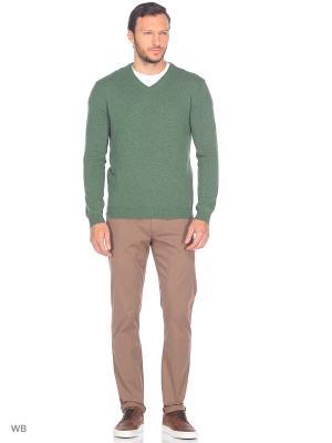 Пуловер United Colors of Benetton. Цвет: зеленый, темно-бежевый