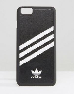 Adidas Черный чехол для iPhone 6 Plus с 3 белыми полосками Originals. Цвет: мульти