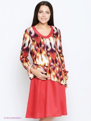 Платье MammySize. Цвет: оранжевый, коричневый, молочный