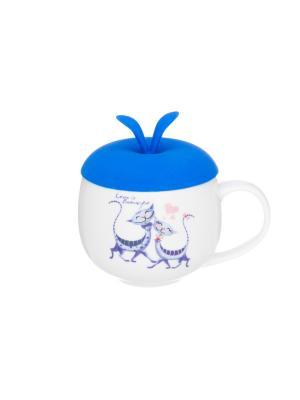 Кружка Влюбленные коты Elan Gallery. Цвет: синий, белый