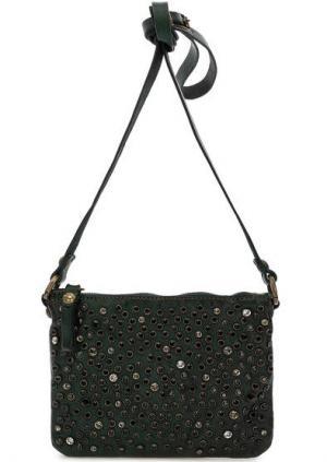 Маленькая кожаная сумка с отделкой камнями Campomaggi. Цвет: зеленый