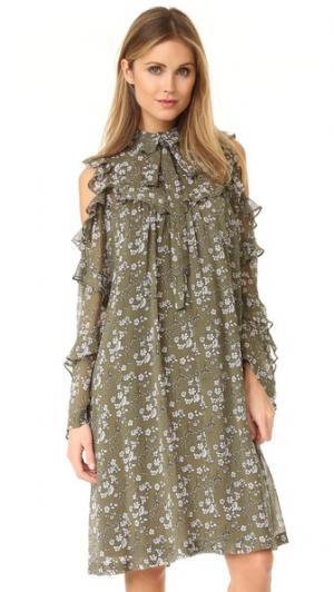 Платье с цветочным рисунком Robert Rodriguez. Цвет: оливковый цветочный рисунок