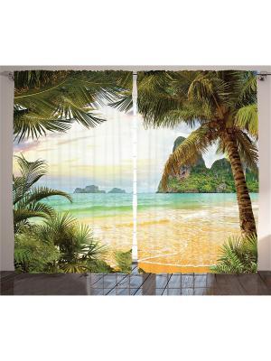 Фото штор зелёный Оранжевый прибой, пальмы и лесистые горы на горизонте Magic Lady. Цвет: зеленый, коричневый, голубой, бежевый, оранжевый, желтый, белый