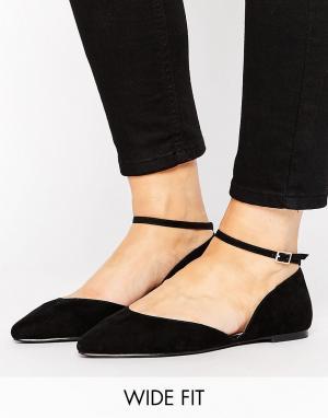 Faith Wide Fit Al Ankle Strap Flat Shoes. Цвет: черный
