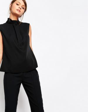 Closet London Блузка с высоким воротом и декоративной вставкой. Цвет: черный