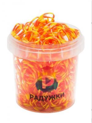 Резинки для плетения в стаканчике, 600 шт., Оранжево-желтый Радужки. Цвет: оранжевый, желтый