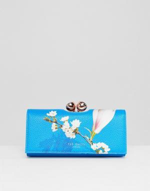 Ted Baker Фактурный кошелек с цветочным принтом. Цвет: синий