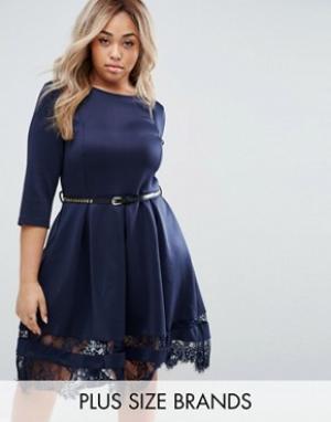 Praslin Короткое приталенное платье с кружевом по краю Plus. Цвет: темно-синий