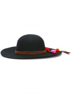 Фетровая шляпа с помпонами Sensi Studio. Цвет: чёрный