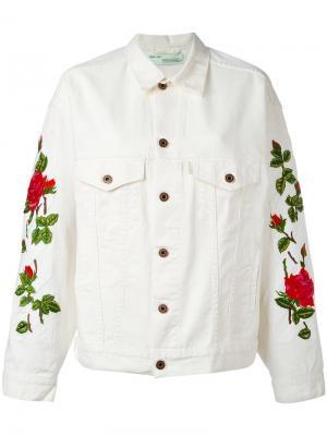 Куртка с вышивкой роз Off-White. Цвет: телесный