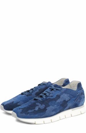 Замшевые кроссовки с камуфляжным принтом Santoni. Цвет: темно-синий