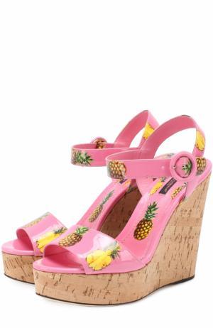 Комбинированные босоножки с принтом на танкетке Dolce & Gabbana. Цвет: розовый