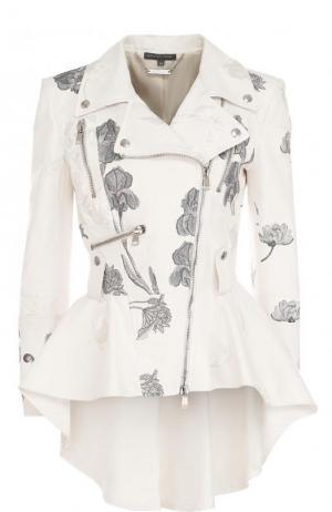 Кожаная куртка с оборкой и контрастной вышивкой Alexander McQueen. Цвет: белый