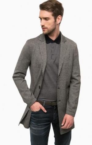 Серое пальто на пуговицах Cinque. Цвет: серый