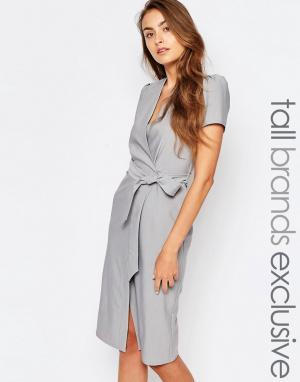 Alter Tall Платье с запахом и завязкой на талии. Цвет: серый