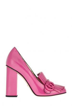 Кожаные туфли GG Marmont Gucci. Цвет: розовый
