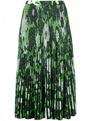 Плиссированная юбка с цветочным принтом Christian Wijnants. Цвет: коричневый