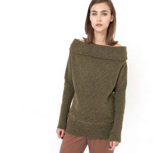 Пуловер с круглым воротником и спущенными плечами, длинными рукавами, LAURA GAT RIMON. Цвет: хаки