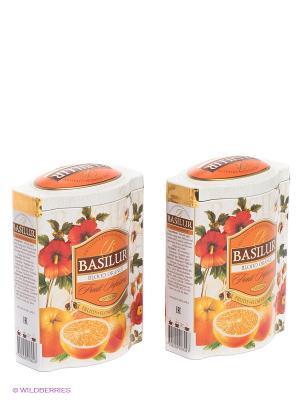 Чайный набор Basilur Фруктовое вдохновение Красный Апельсин. Цвет: светло-серый, оранжевый