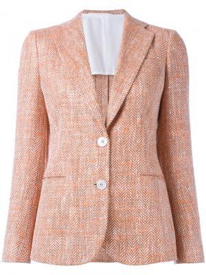 Пиджак с застежкой на две пуговицы Kiton. Цвет: жёлтый и оранжевый