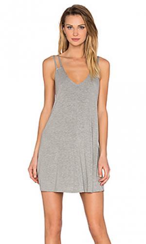 Платье с двойными шлейками BLQ BASIQ. Цвет: серый
