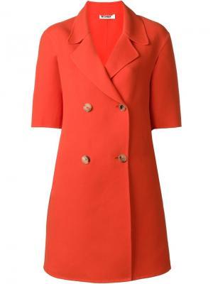 Двубортное пальто Jil Sander. Цвет: красный