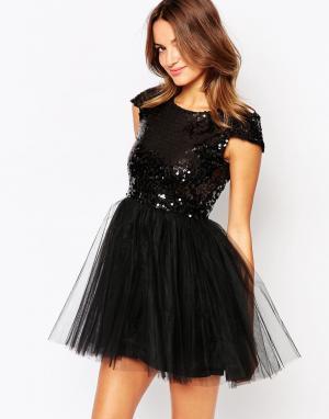 Little Black Dress Платье с расшитым пайетками лифом и юбкой из тюля C. Цвет: черный