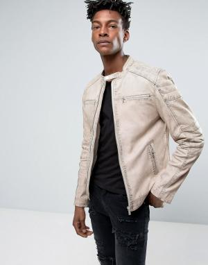 Goosecraft Бежевая кожаная куртка со стегаными вставками. Цвет: белый