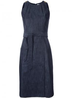 Джинсовое платье с поясом Tomas Maier. Цвет: синий