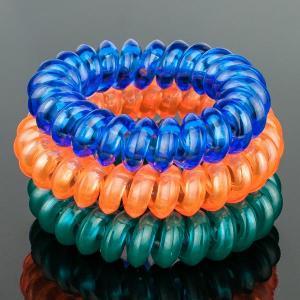 Комплект Резинок-Пружинок для волос 3 шт/уп, арт. РПВ-322 Бусики-Колечки. Цвет: синий