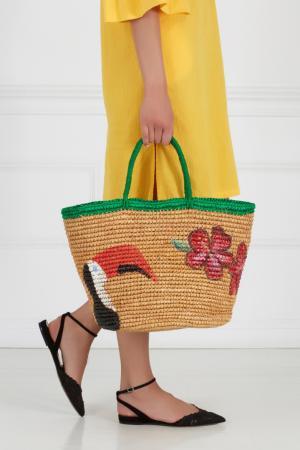 Соломенная сумка Sensi Studio. Цвет: желтый, зеленый