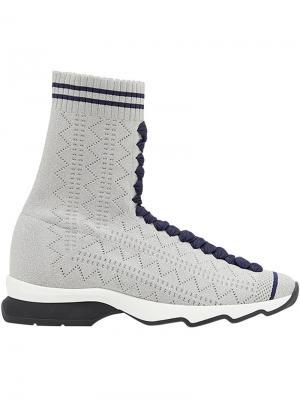 Облегающие кроссовки в стиле носков Fendi. Цвет: серый