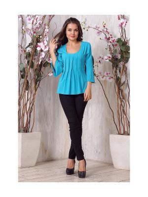 Блузка LIORA. Цвет: бирюзовый