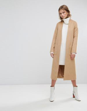 Helene Berman Длинное пальто-накидка с добавлением шерсти. Цвет: коричневый