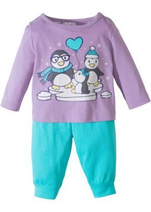 Для малышей: футболка с длинным рукавом + трикотажные брюки (2 изд.), биохлопок (сиреневый/аква) bonprix. Цвет: сиреневый/аква