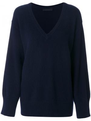 Свободный свитер с V-образным вырезом The Row. Цвет: синий