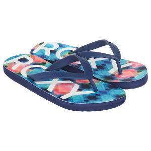 Вьетнамки  Playa Blue/White Print Roxy. Цвет: синий,розовый,белый