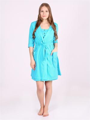 Домашний костюм для беременных и кормящих Flip. Цвет: голубой