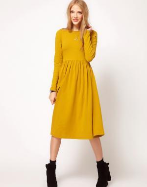 ASOS Платье миди с длинными рукавами. Цвет: серый