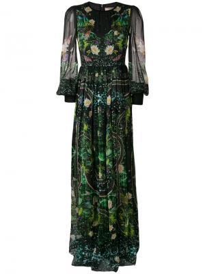 Длинное платье  с цветочной вышивкой Piccione.Piccione. Цвет: чёрный