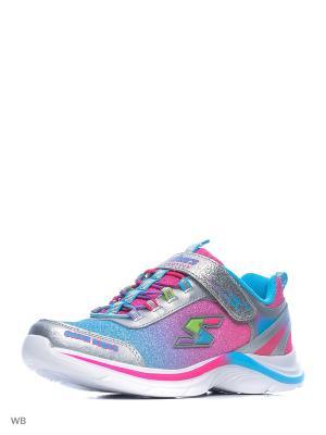 Кроссовки SKECHERS. Цвет: серебристый, розовый, голубой