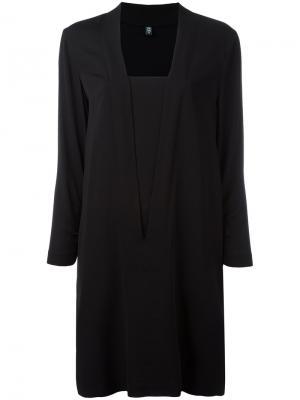 Платье с квадратным вырезом Eleventy. Цвет: чёрный