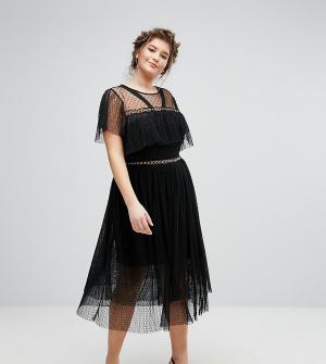 Truly You Платье из тюля с люверсами и рюшами. Цвет: черный