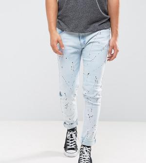 Liquor N Poker Выбеленные зауженные джинсы с принтом. Цвет: синий