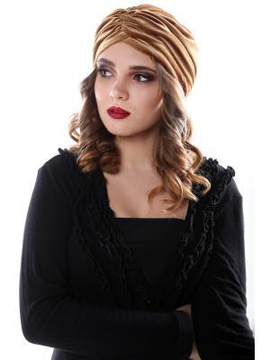 Чалма-шапочка утепленная на флисе Золотой гладкий бархат предварительно завязанная SEANNA. Цвет: золотистый