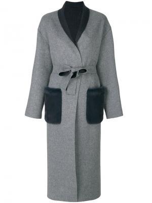Пальто-кардиган свободного кроя Liska. Цвет: серый