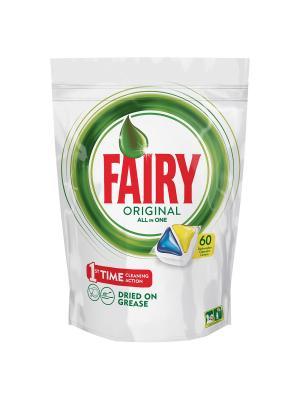 Капсулы для посудомоечной машины Original All In One Лимон (60 штук) Fairy. Цвет: белый