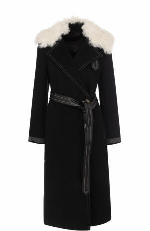 Шерстяное пальто с поясом и отделкой из овчины Helmut Lang. Цвет: черный