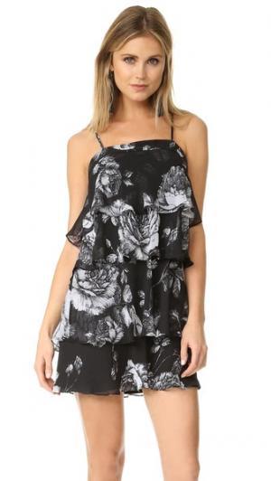 Многоярусное мини-платье с воланами и цветочным рисунком Ali & Jay. Цвет: черный цветочный рисунок