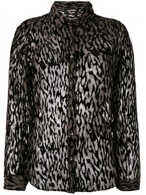Полупрозрачная блузка с леопардовым принтом The Kooples. Цвет: чёрный
